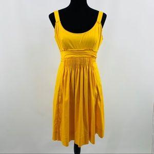 Elie Tahari Yellow Pleated Dress Kangaroo Pocket
